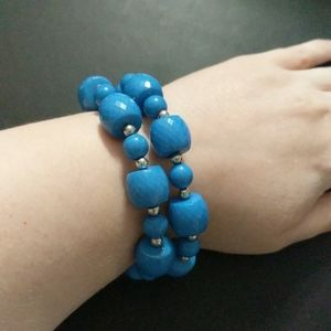 Charming Charlie Blue and Silver Beaded Stretchy Elastic Bracelet Set